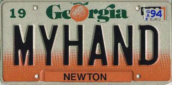 Myhand license plate
